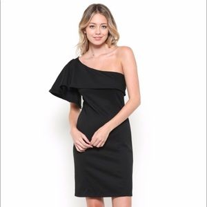 The Perfect Black Dress One Shoulder Free Shipping